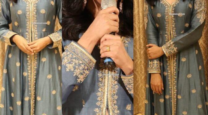 "Priya Mani Raj in grey front silt Anarkali for success meet of ""Narappa"""