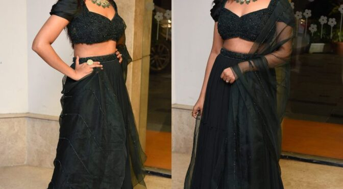 "Aathmika in a green Lehenga at ""Vijaya Raghavan"" pre-release event!"