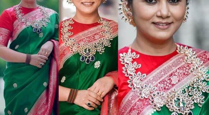 Director Sukumar's Wife Thabitha stuns in green pattu saree for Ganesh Chaturthi!