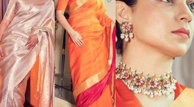 "Kangana Ranaut stuns in Traditional silk saree for ""Thalaivi"" promotions!"