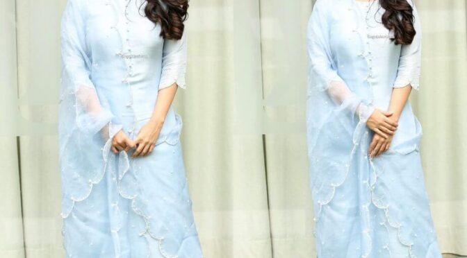 "Megha akash in powder blue kurta set for ""Dear Megha"" interview!"