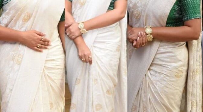 "Purnaa stuns in ivory benarasi for ""Thalaivi"" pre-release event!"