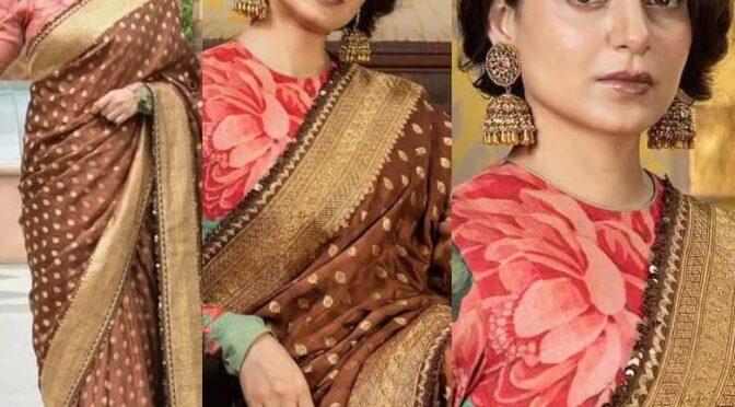 "Kangana Ranaut in Sabyasachi brown Benarasi saree for ""Thalaivi"" screening!"