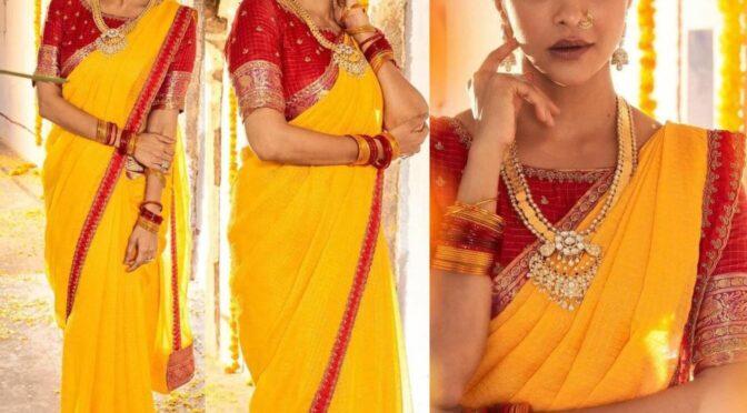 Lakshmi Manchu looking stunning in yellow Chanderi silk saree!