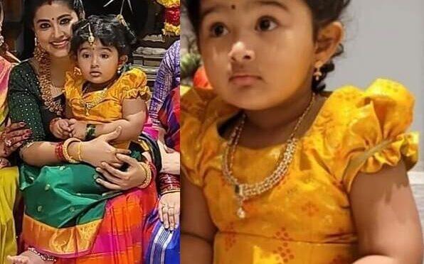 Actress Sneha prasanna daughter aadyanthaa in pattu pavadai!