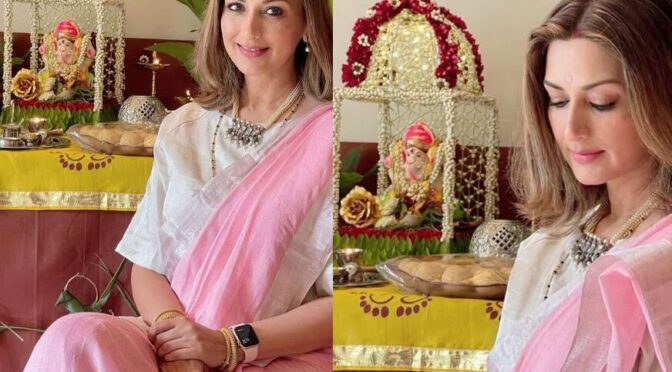 """Sonali Bendre Celebrates Ganesh Chathurti in a pink saree by """"Anavila"""""""
