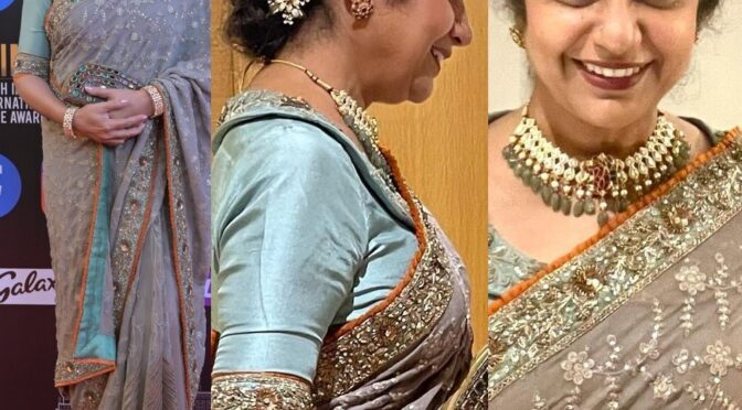 SIIMA 2021 Suhasini in a designer saree by REHANA BASHEER