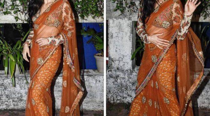 "Katrina Kaif in orange Sabyasachi saree for promotions of ""Sooryavanshi""!"