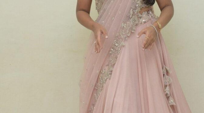 "Sandhya Raju  in Anushree Reddy pink lehenga for ""Natyam"" movie pre-release event!"