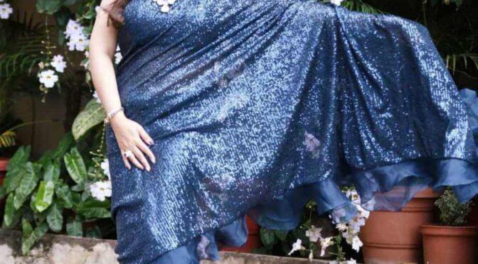 Sridevi Vijaykumar stuns in blue sequin ruffle saree by Neerus!