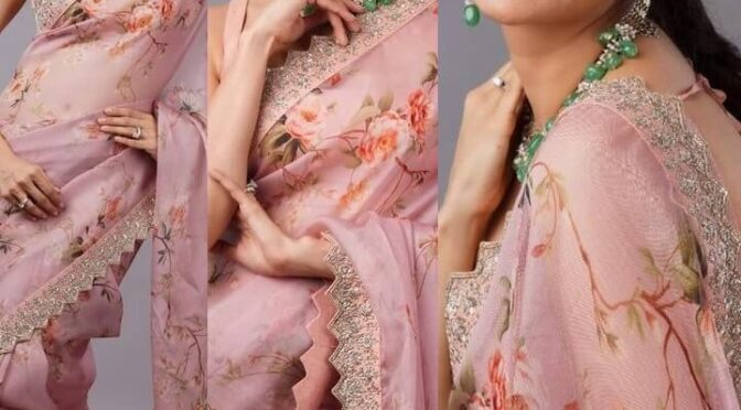 Kajal Aggarwal stunning in Pink organza saree by Anushree reddy!