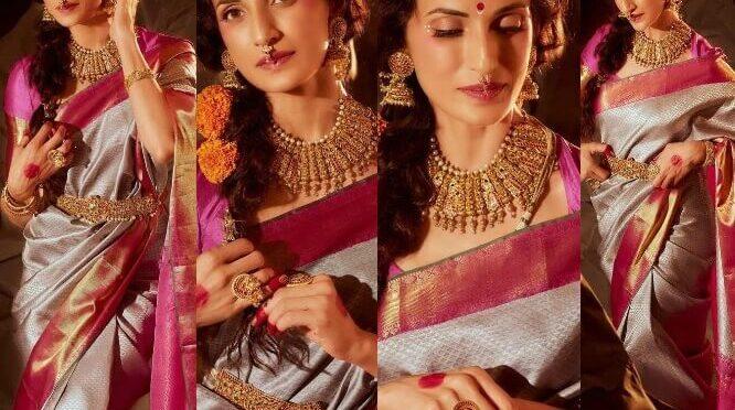 Shilpa Reddy stuns in grey pattu saree for Navarathri pooja !