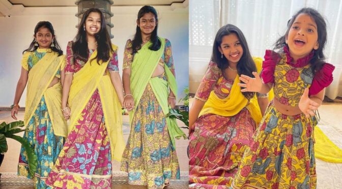Chiranjeevi's grand daughters in kalamakari attire for Dussehra celebrations!